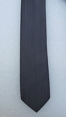 Tootal tie with grey diagonal and vertical stripes vintage 1960s